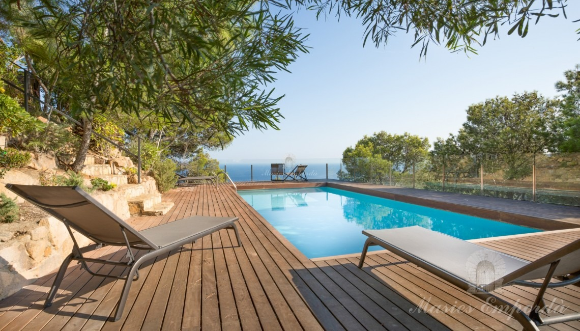 Pool area with views