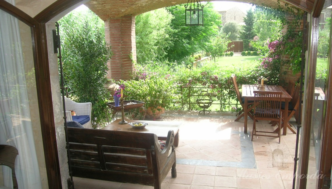 View from inside the porch house and the garden