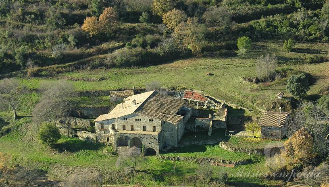 Aerial view of the farmhouse