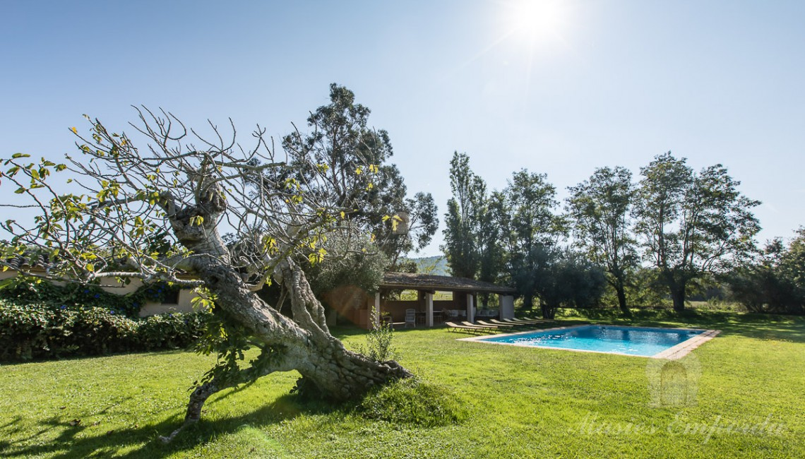 El jardín de la zona de la piscina con el porche en el lateral
