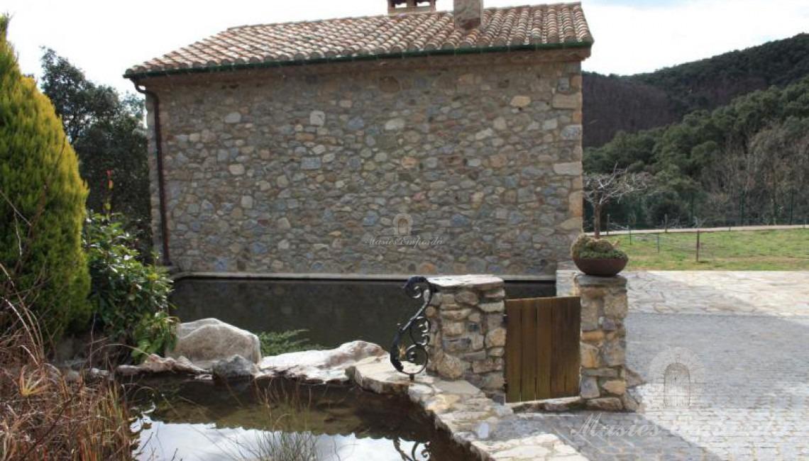 Vista de la fuente y la piscina con la casa de invitados al fondo de la imagen