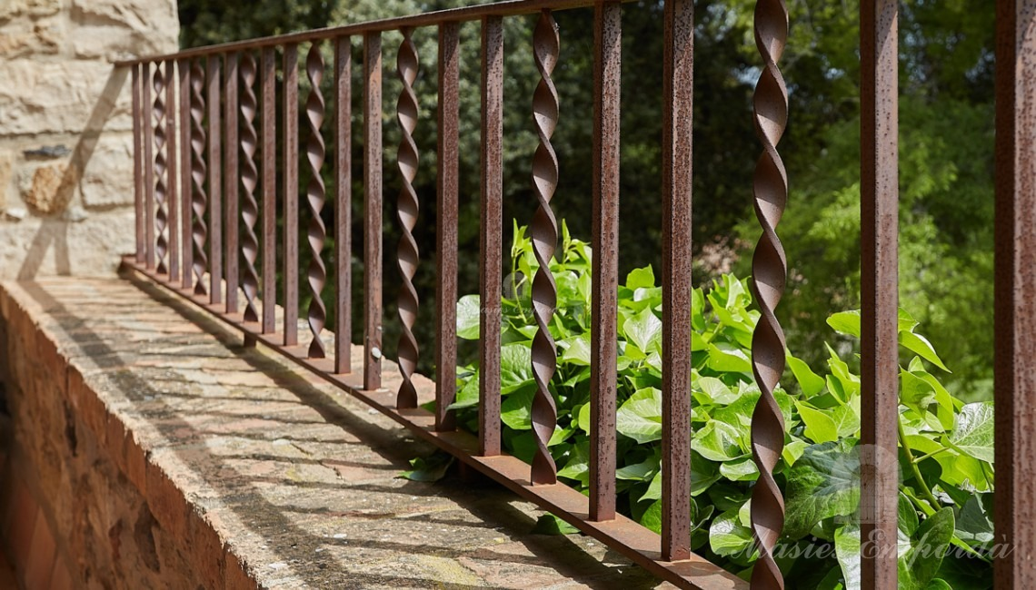 Detail of the forged handrail of the terrace