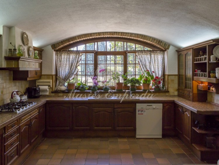 View of the kitchen of the house with a spectacular window overlooking the garden
