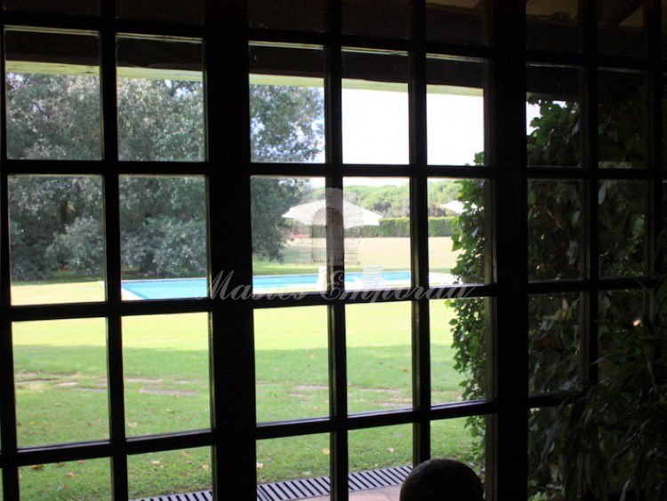 Vista de la piscina y el jardín desde el salón principal de la casa