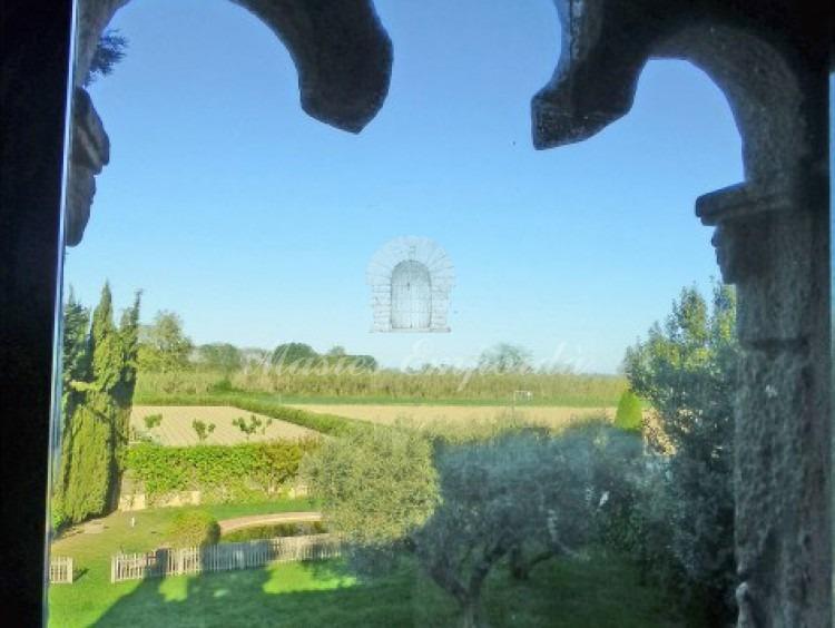 Vista desde la segunda planta de la casa del jardín y de los campos de alrededor
