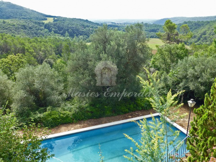 Vista del conjunto de la piscina el jardín y los campos de la propiedad