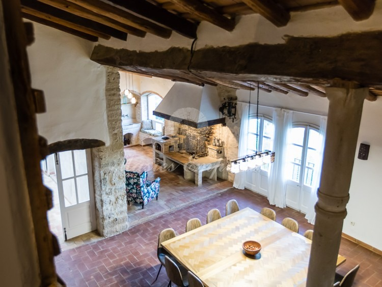 Main dining room of the house seen from the attic