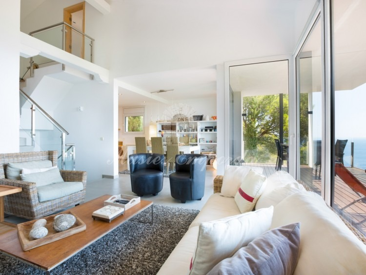 Views of the living room, dining room and terrace