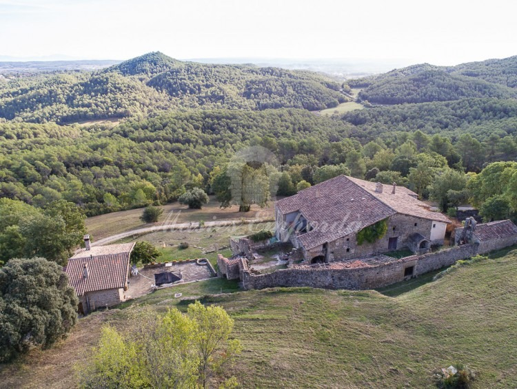 Panoramic aerial view of the farmhouse