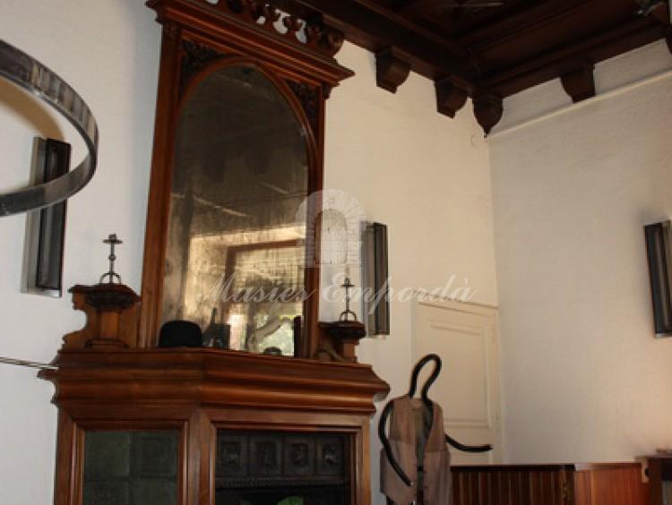 Detalle de la chimenea con cobertor de madera y de los artesonados de techo también en madera con grabados