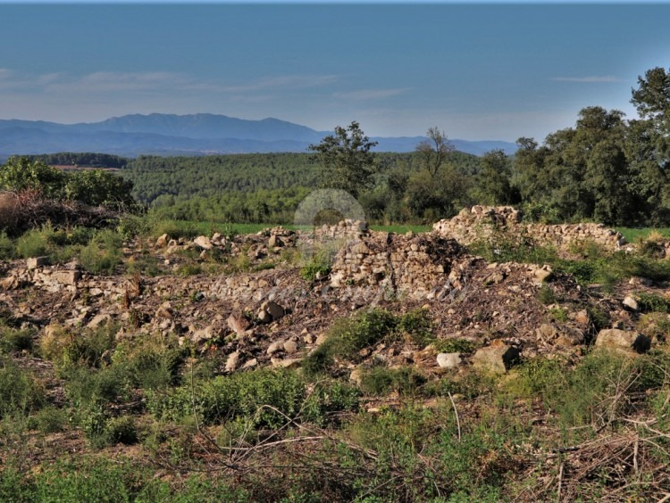 Views of the ruin, the fields that surround it and the mountain of Canigó and the bottom of the image