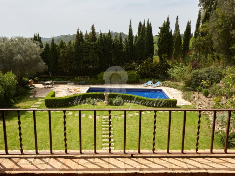 Views from the terrace of the pool and the garden